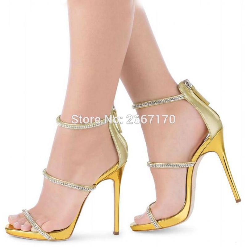 Compre Zapatos De Gladiador Mujer Oro Dorado Sandalias De Plata Correas De  Cristal Cadenas Zapatos De Tacón Alto Zapatos De Punta Abierta Verano  Vestido De ... 0ce0a329a15
