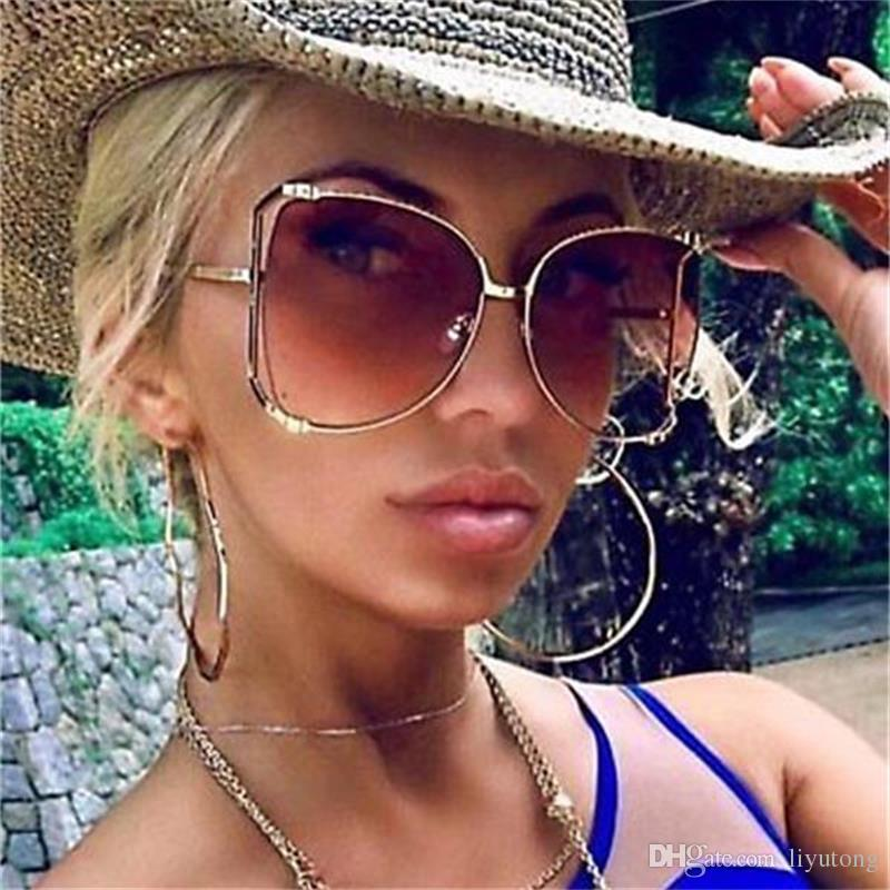 2a7bf12f004c Fashion Oversized Sunglasses Women Retro Butterfly Clear Shades Metal  Sunglasses Ladies Vintage Gradient Black Sun Glasses 2018 Transparent Designer  Glasses ...