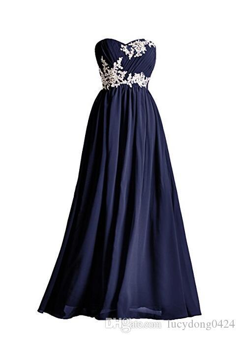 99d1aaaf3 Compre Vestidos De Dama De Honor Largos Marinos Oscuros 2018 Apliques  Rebordear Lentejuelas Palabra De Longitud Sin Mangas Vestido De Baile Rojo  Rosa Azul ...