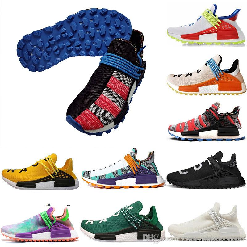 Adidas Nouveaux hommes formateurs Adidas pharrell williams hu nmd human race Chalk Coral pâle soleil nude lueur femmes chaussures de course baskets
