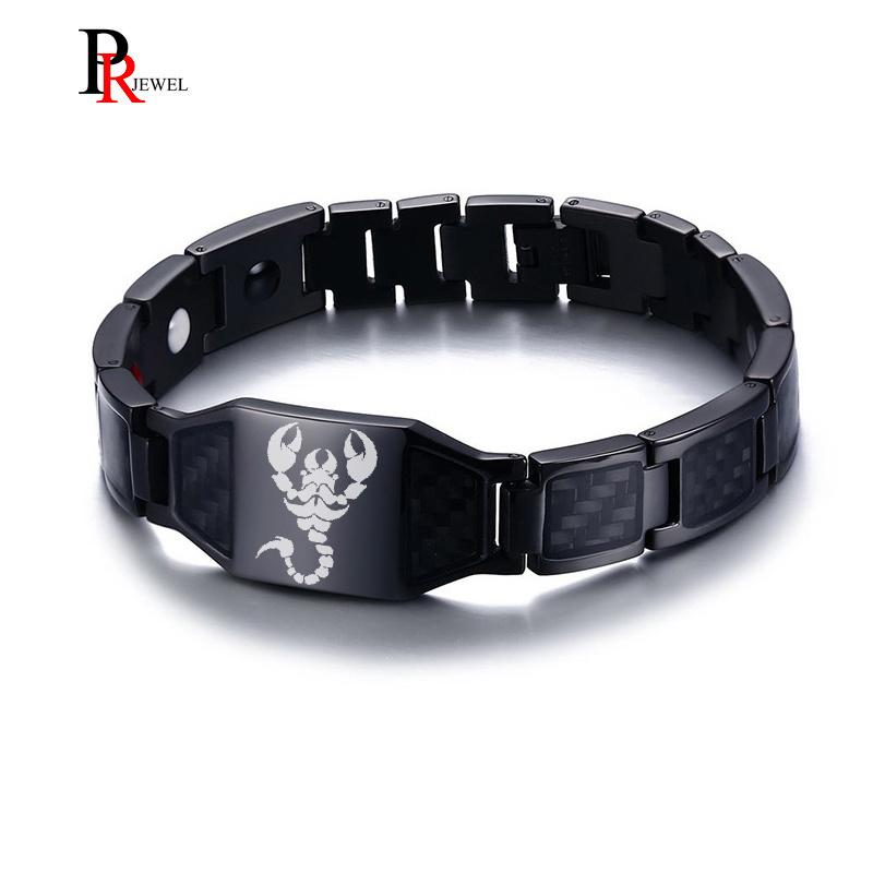 "Punk Scorpion Bracelets for Men Carbon Fiber Black Magnetic Therapy Bracelet 8.46"" Pain Relief for Arthritis and Carpal Tunnel"