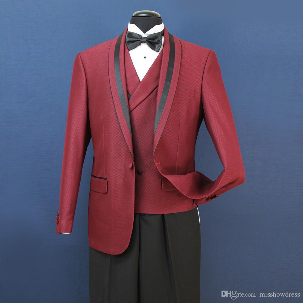 8 Fotos 30 2018 Em Stock Mens casamento formal Ternos Groom Groomsmen Tuexdos Negócios Desgaste xaile lapela ST007 Vest + Calças Jacket +