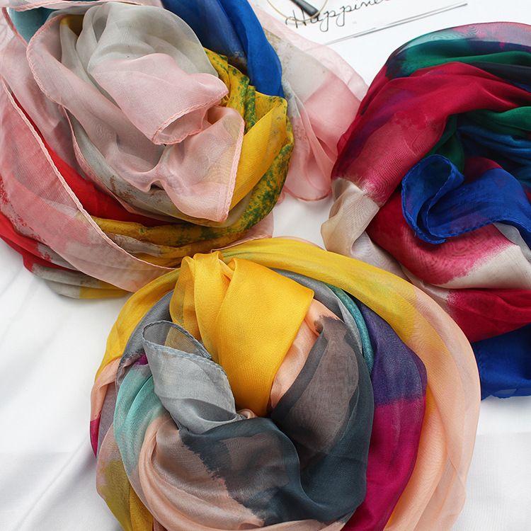 New summer female long section ice silk chiffon scarf beach sunscreen beach towel air conditioning shawl wild print scarves