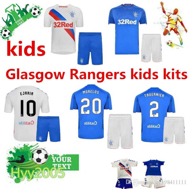 2019 Glasgow Rangers Kids Kit 2018 2019 Rangers FC Home White Soccer Jersey  18 19 Child Glasgow Rangers Away Blue Football Jerseys Shirt Youth From ... 7d552f33f