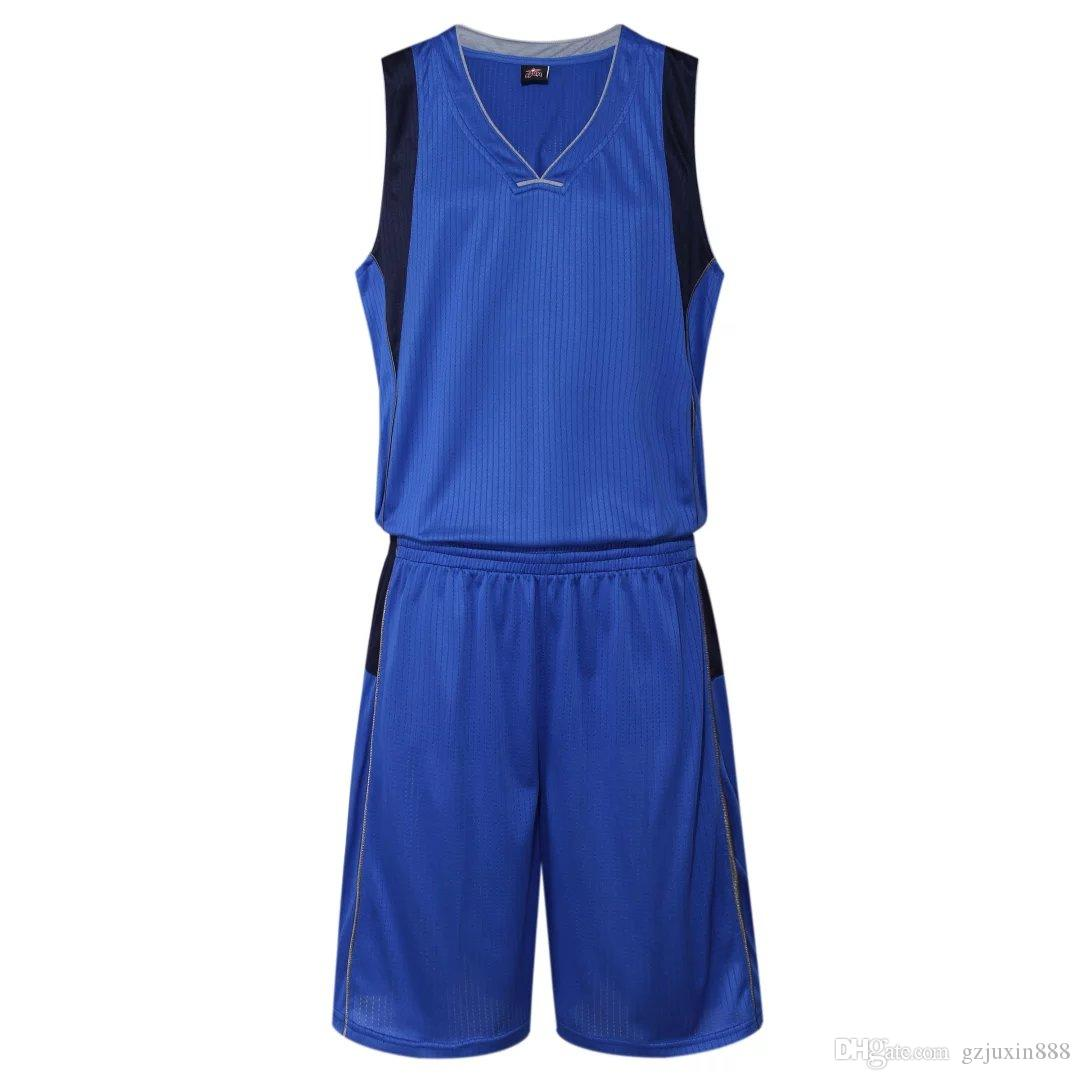 2018 New Basketball Uniform For Men Sleeveless Blue White Outdoor ... e31fe7df5
