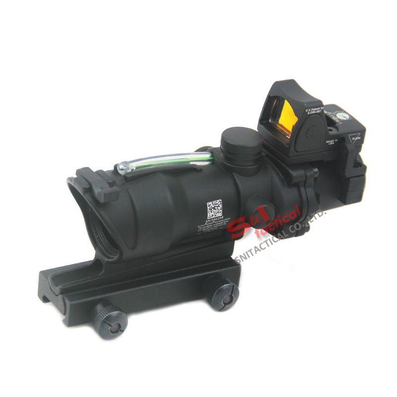 Tactical ACOG 4X32 Fibre Source Verde fibra óptica Alcance w / RMR Micro Red Dot Marked Versión Negro