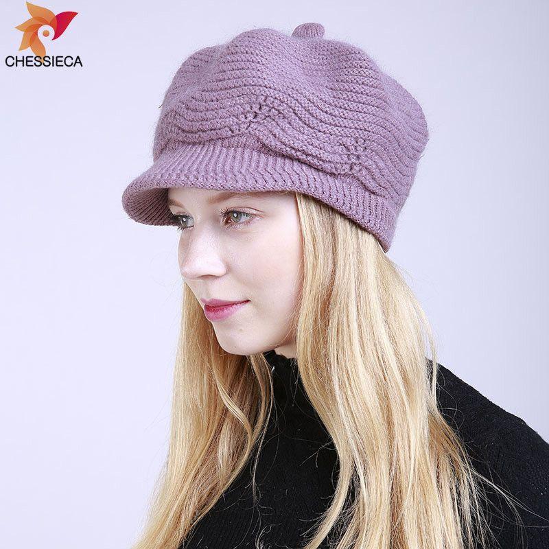 2b2292311ce8 CHESSIECA 2018 Марка зимние женщины зимняя шапка теплые шапочки флис внутри  вязаные ...