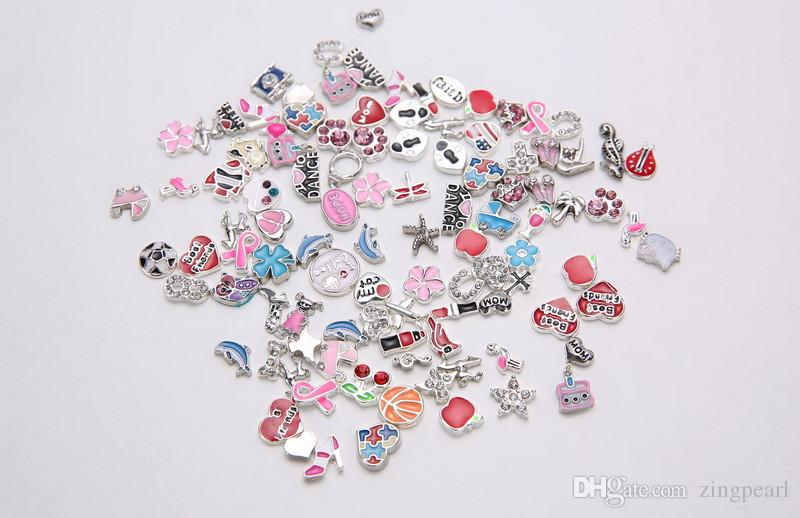 Mixed DIY Charms for Locket Pendant Bracelets Necklaces Chain for Womens Fashion Jewelry Accessories Magnetic Floating Charms