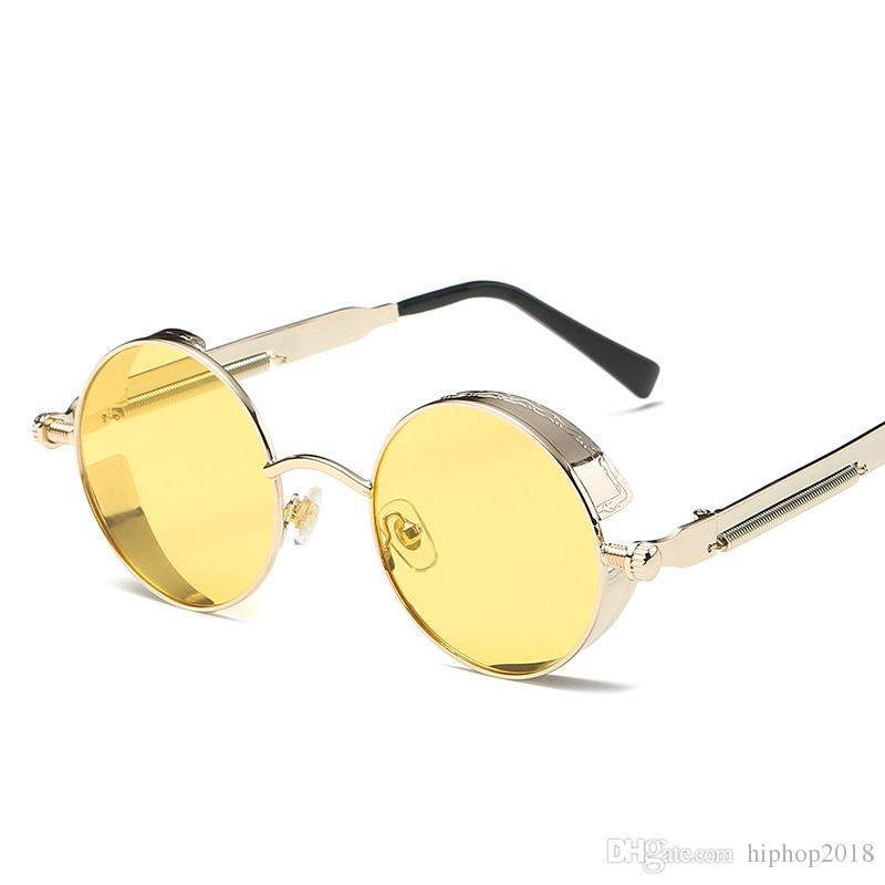 58e627c30c Designer Retro Vintage Sunglasses For Mens New Round Metal Sunglasses UV400  Steampunk Womens Fashion Sun Glasses With Spring Leg Mens Eyeglasses Sport  ...