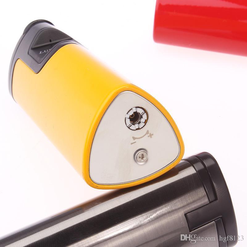 Nueva llegada LUBINSKI High-end Metal Laser Touch Inducción 3 Antorcha Jet Llama encendedor de cigarros Encendedores de cigarrillos de gas butano