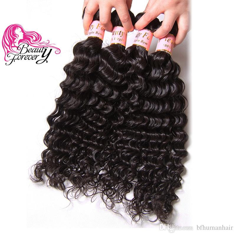 Beauty Forever Malaysian Deep Wave Hair Bundles 4 Pieces 12-26inch Human Hair Extension Natural Color Wholesale Weave Free Ship Hair Bulk