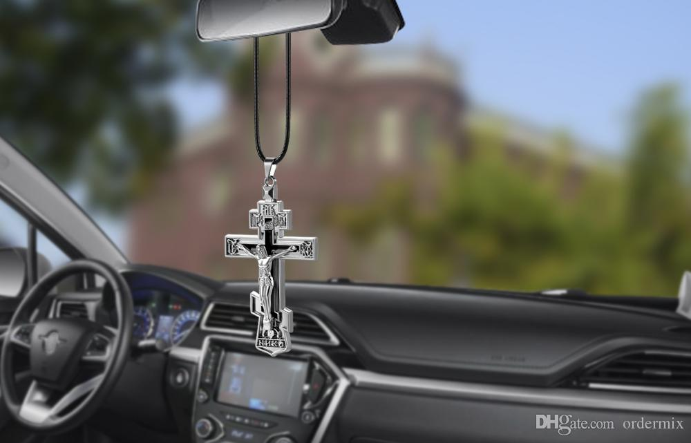 charms metal jesus crucifix cross car rearview mirror decoration hanging pendant automobiles. Black Bedroom Furniture Sets. Home Design Ideas