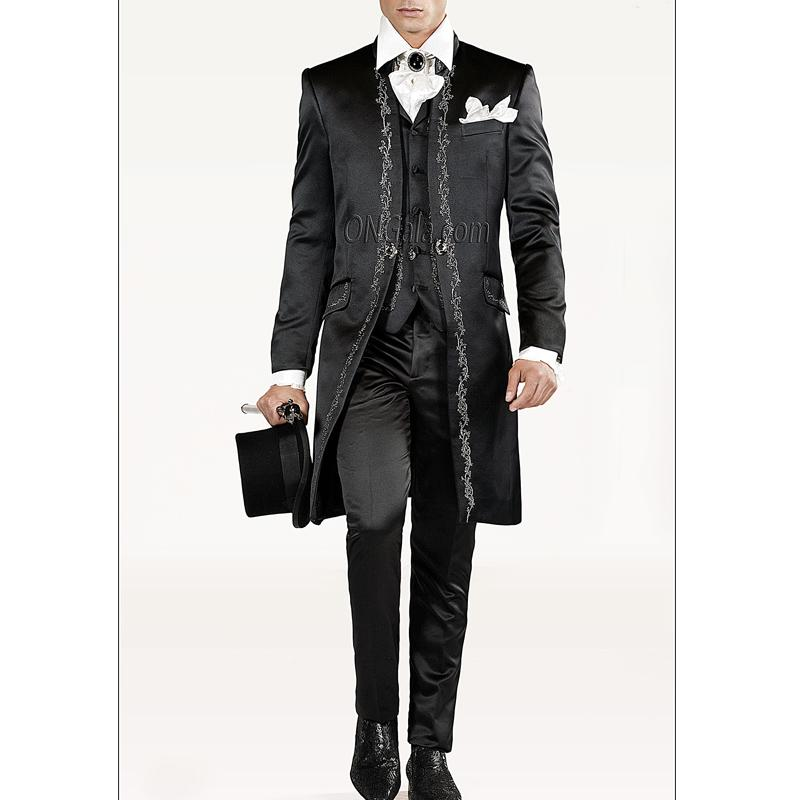 2018 Vintage Black Wedding Groom Tuxedos For Men Long Embroidery ...