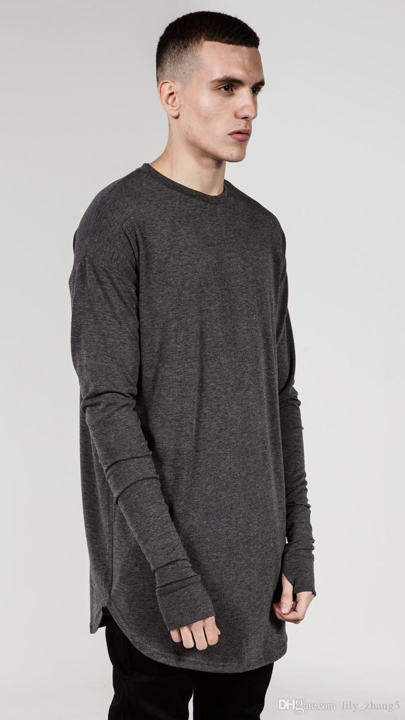 Novas Tendências Camisas Dos Homens T Super Longline Manga Comprida T-Shirt Hip Hop arco hem Com Curva Hem Side Zip Tops tee