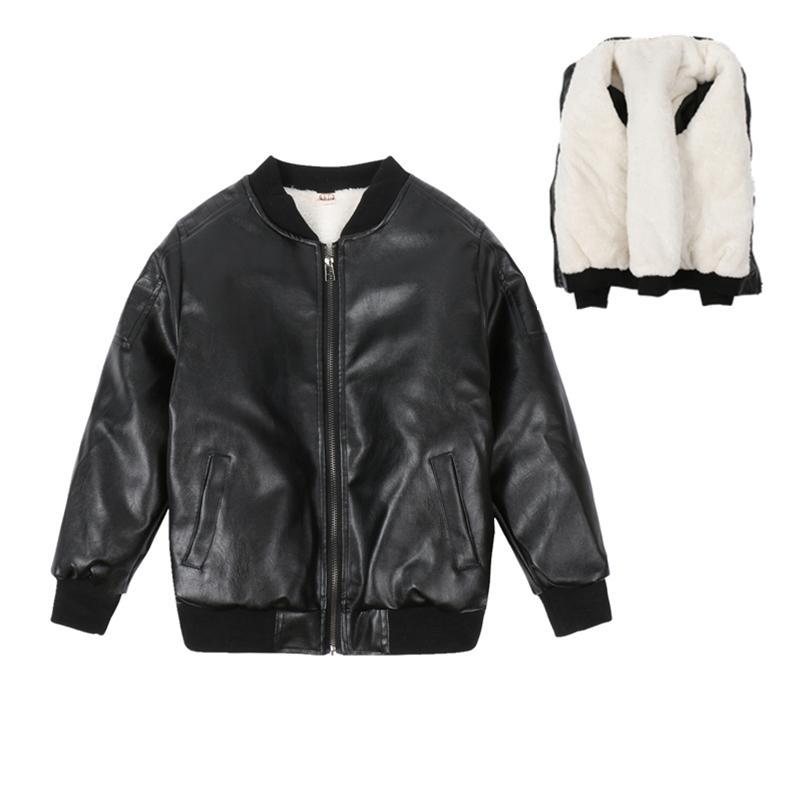 be4fcafa7bb Klassischen Stil Jungen Herbst Winter Lederjacke Warme Plüsch  Oberbekleidung Casual Winter kinder Jacken für Jungen Mantel Kinder Kleidung