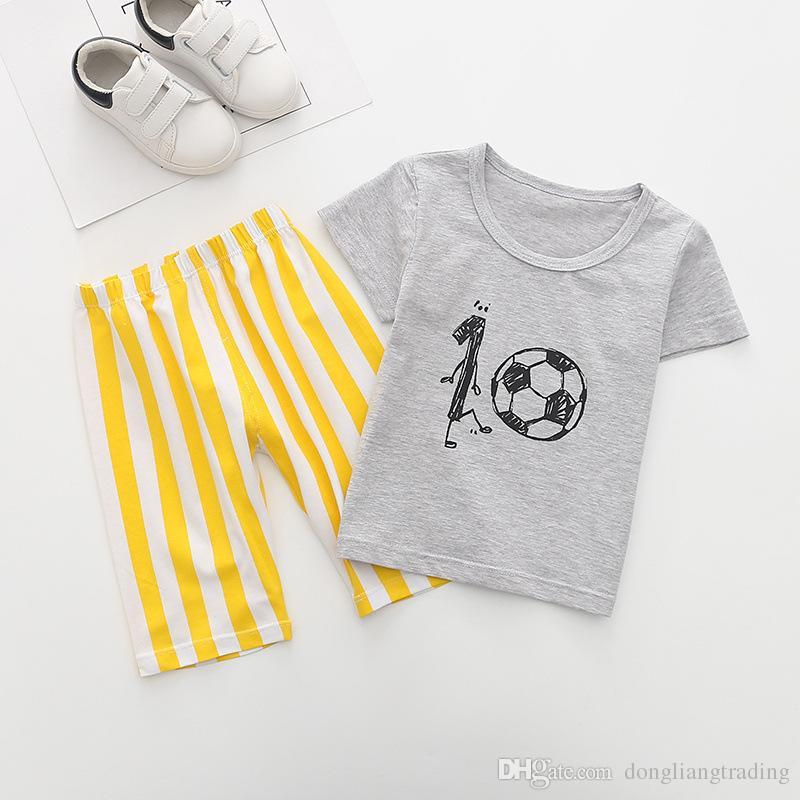 e3a24e3c71a6 2019 Baby New Arrival Sale Boy Clothes Set Boys Football Printed ...