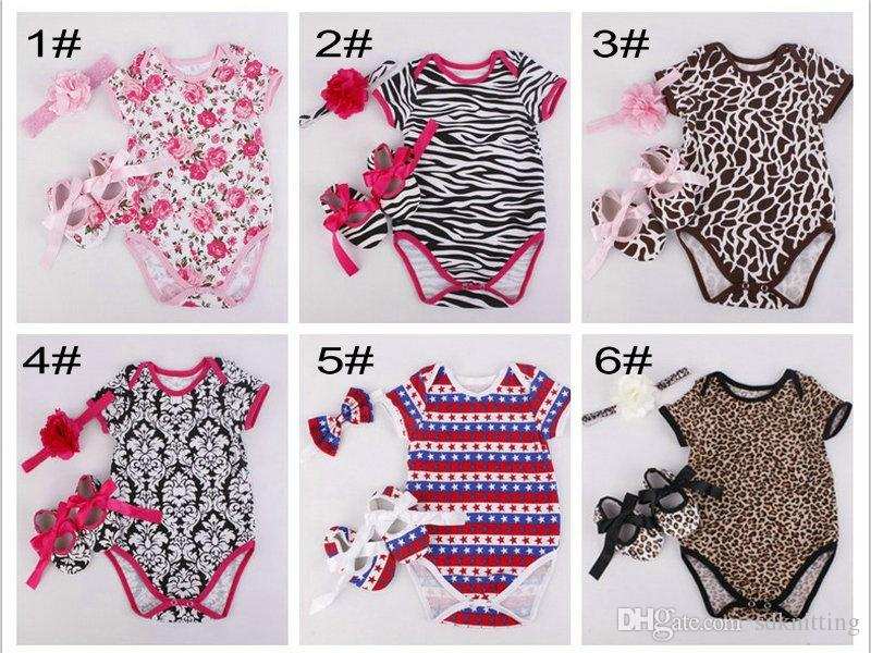 dba92ba10 2019 Baby Romper And Headband Shoes Set Infant Summer Zebra Leopard Romper  Suit Newborn Baby Girl Clothes Suit A019 From Sdknitting, $5.23   DHgate.Com