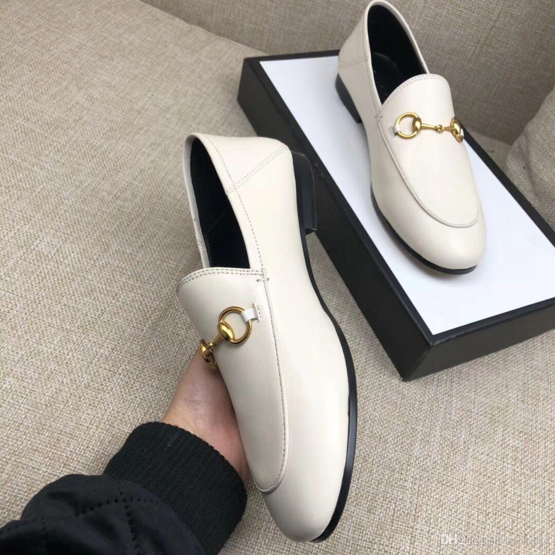 6d4be5296b8 Best Selling 2018 Women Genuine Leather Fashion Loafers Luxury Mules Shoes  High Quality Moccasins Shoes Horsebit Casual Shoes Simple Style Navy Shoes  Blue ...