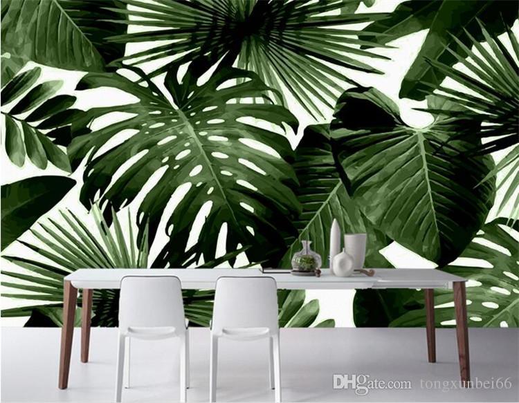 Große benutzerdefinierte Foto Wallpapers Retro tropischen Regenwald Palm Basho Leaf Wohnzimmer Schlafzimmer TV Hintergrund Wand