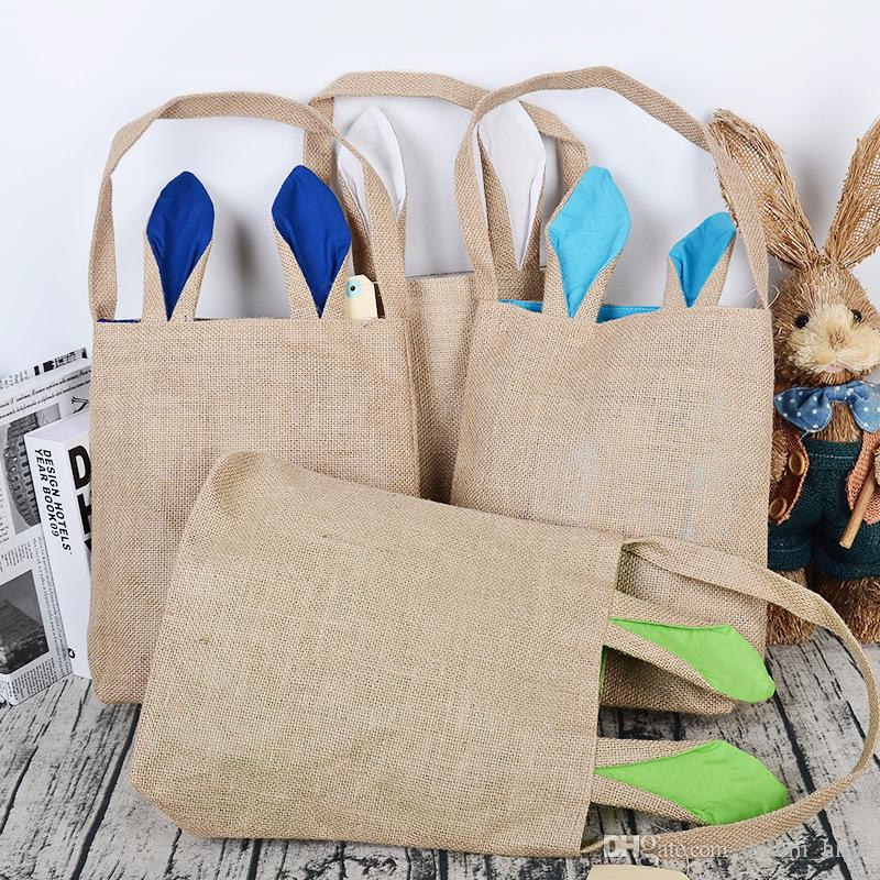 Easter Bunny Bags Jute Cloth Material Dual Layer Rabbit Ears Design Tote Bag Reticule Handbag Carrying Bags Gifts for Easter Party