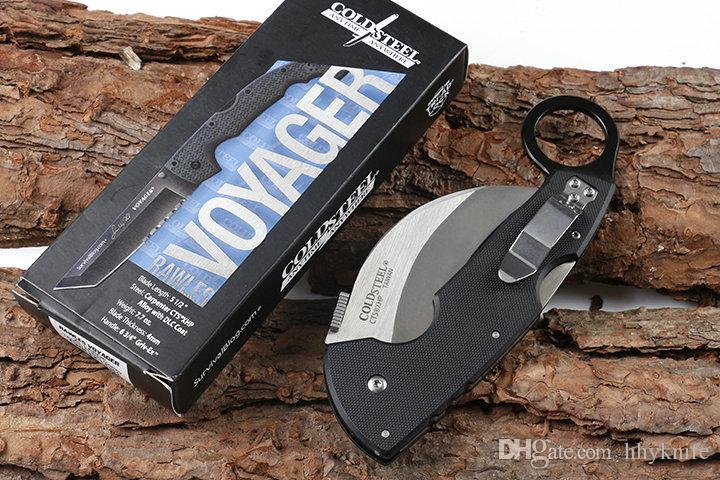 Top Quality Cold Steel CA93003 Karambit Coltello 440C raso della lama Blacl G10 manico pieghevole lama dell'artiglio della lama Liner Lock