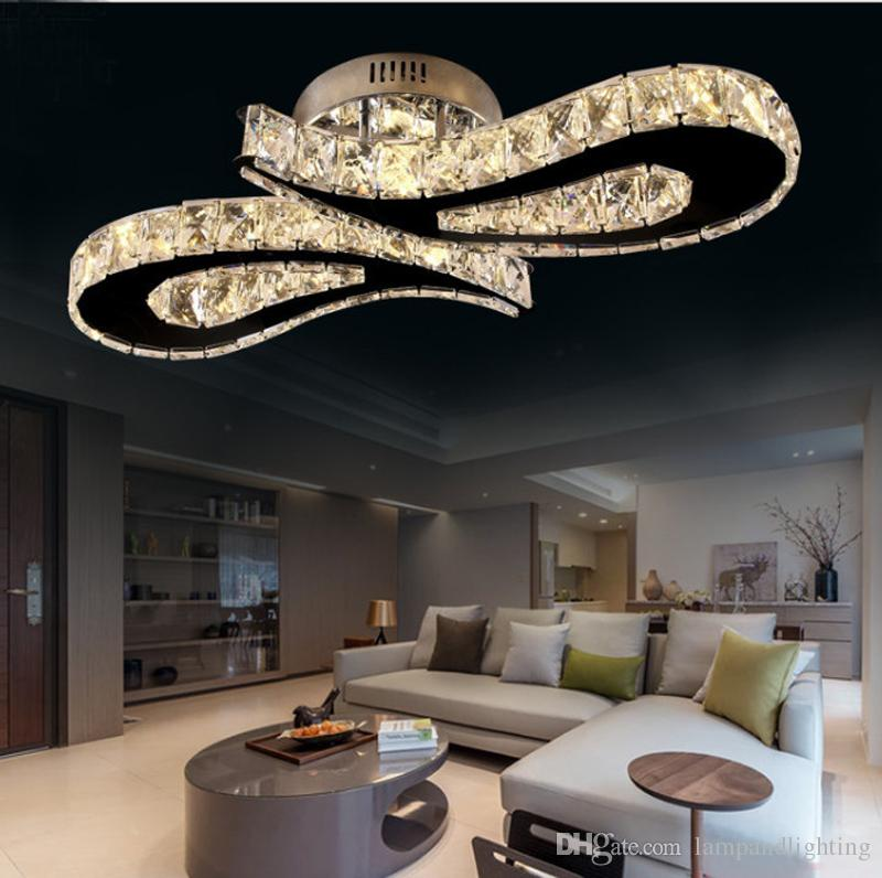 Moderna de aço inoxidável de alta qualidade 36 W LED teto de cristal lâmpada plafonnier luxo montagem embutida luzes de teto para sala de jantar