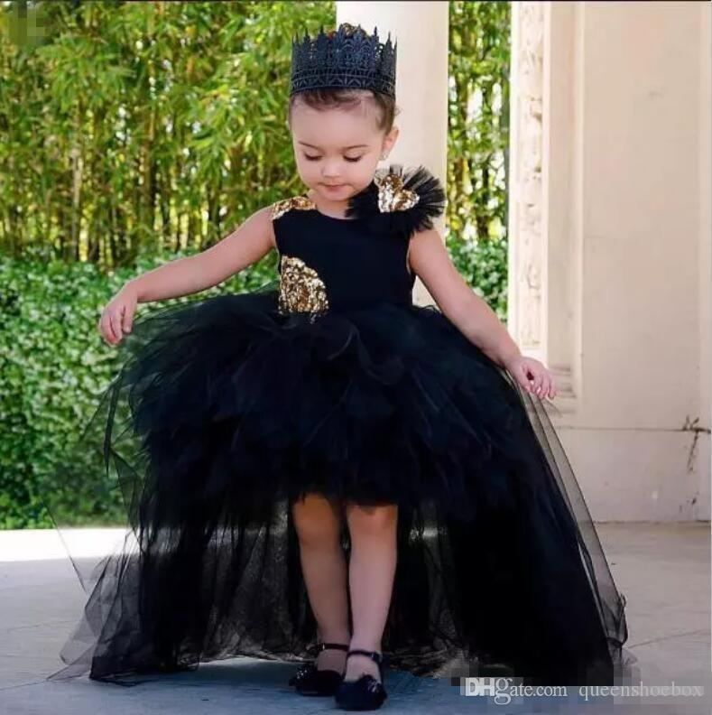 Lovely Black High Low Girls Pageant Gowns With Gold Sequins Tulle Ball Gown Flower Girl Dresses For Wedding Baby Birthday Party Dress Cheap