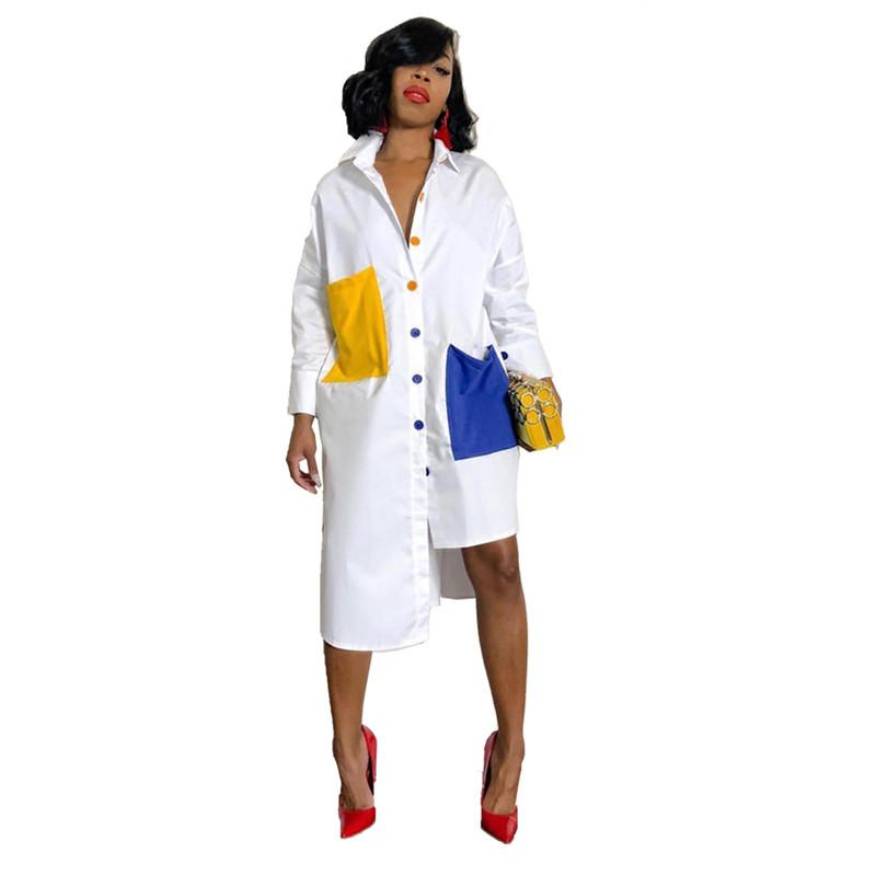 Autumn Long Sleeve White Shirt Dress Women Turn Down Collar Button Up Blouse Dress Oversized Midi Shirt With Pockets
