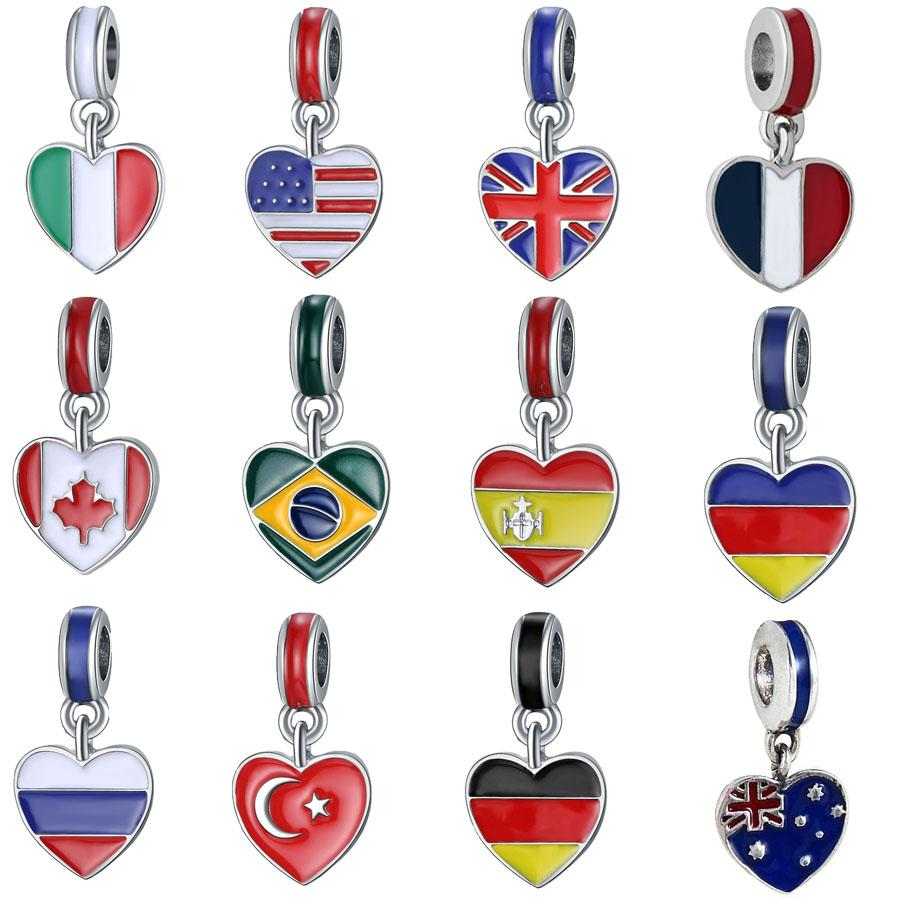 2018 World Cup Fashion Silver plated Enamel Russina Canada UK ect Flags Heart Design Alloy metal DIY Charm fit European Bracelet & Necklace