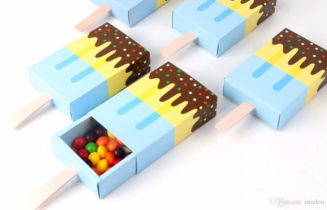 200 pçs / lote Ice Cream Forma Caixas de Presente Bonito Do Chuveiro Do Bebê Festa de Aniversário Caixa de Doces Dos Desenhos Animados Caixa De Presente Gaveta Para Crianças Favor de Partido