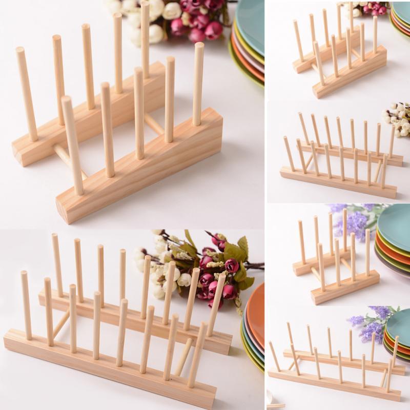 Online Cheap Simplshelf Dish Rack Pots Wooden Plate Stand Wood ...