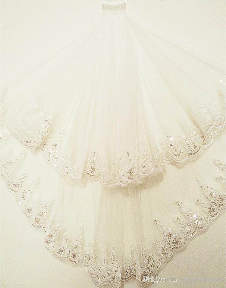 Vintage 1 M Largo velo de novia Apliques de encaje Lentejuelas Borde Corto velo de novia 2 capas Velos blancos Velos de novia largos de novia