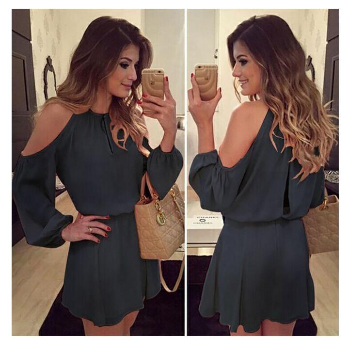 2018 nuove donne Sexy Sling senza bretelle vestito chiffon donne gonna elegante a maniche lunghe capestro Casuale colori multipli abito gonna