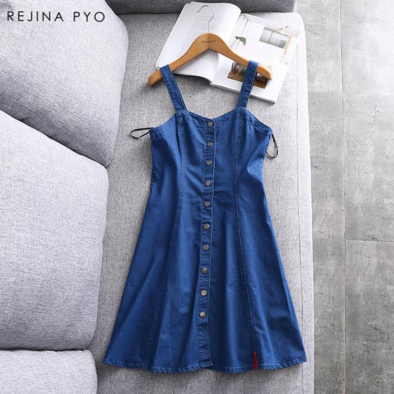 49ec37120cc1f 2019 Rejina Pyo Women S Fashion Vintage Single Breasted Dress Sleeveless  Spaghetti Strap High Waist Female S Summer Dresses From Sogga