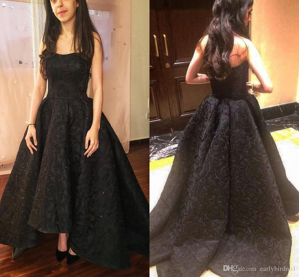 97c6ba8d3a051 New Elegant Black Full Lace High Low Prom Dresses 2018 Sexy Strapless  Sleeveless Sweep Train Formal Evening Dresses Women Party Gowns Junior Prom  Dress ...
