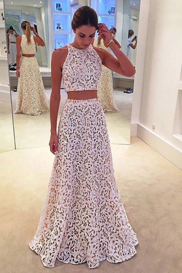 Sexy Zweiteiler Abendkleid 2018 New Pattern Jewel Neck Eine Linie White Lace Overlay Nude Under 2 Stück Vestidos