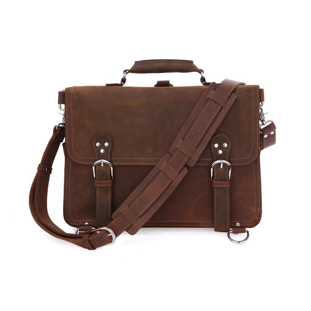 0ec24bfd387f Rare Crazy Horse Leather Men S Brown Business Briefcase Laptop Totes Bag  Dispatch Cross Body Shoulder Messenger Huge 16 Inch Designer Handbags Totes  From ...