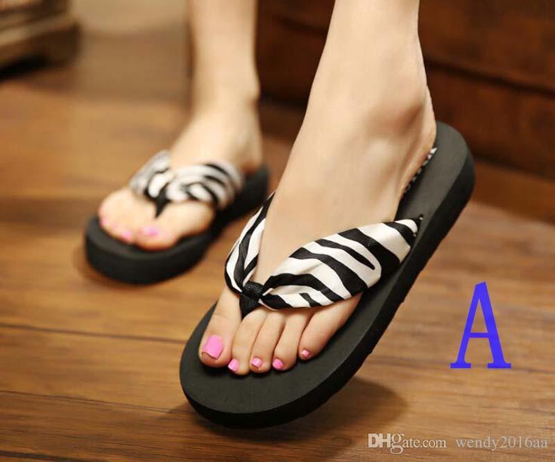 2018 Summer Europe and US Bohemia silk fabrics cool slippers Women Beach Flip Flops sandals outside
