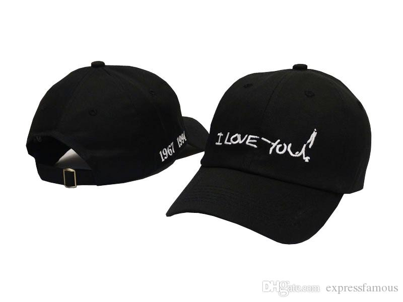 New Popular Gosha cap bone hip hop streetwear Embroidered sun snapback cap I Love You letter curved 6 panel baseball hat for Men Women