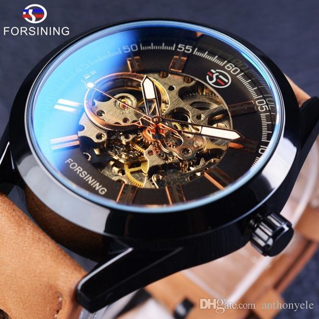 05ee554fcae Compre Forsining Luxo Mens Relógio Mecânico Homem Esporte Relógio Azul  Vidro Luminoso Relógios De Pulso Militar Moda Esqueleto Automático Relógios  Para ...
