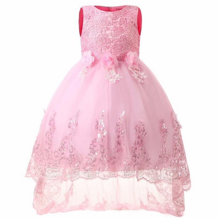 Nicoevaropa Flower Girls Dresses For Wedding Pageant Dovetail Bridal Gown Teenagers Children Girl Kids Ball Party Wear 4-12Yrs