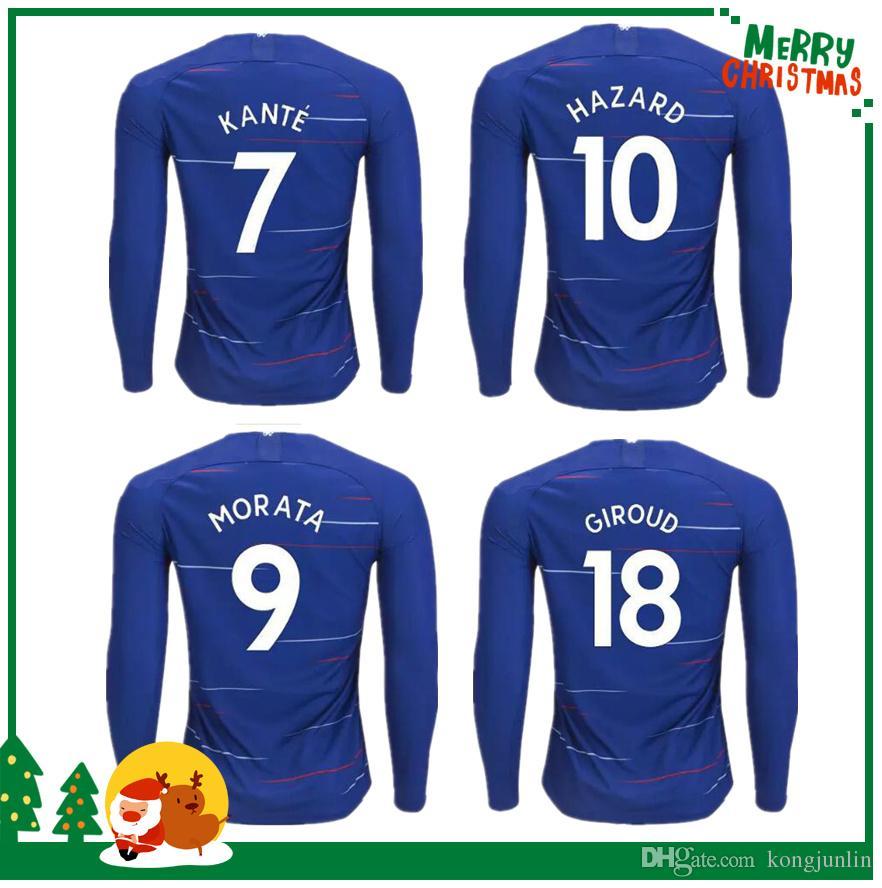 18 19 Long Sleeve Soccer Jersey 2018 2019 HAZARD Home Bule PEDRO PATO ZOUMA  DIEGO COSTA WILLIAN FALCAO FABREGAS Shirts Online with  19.68 Piece on ... 1d2fdbbfa