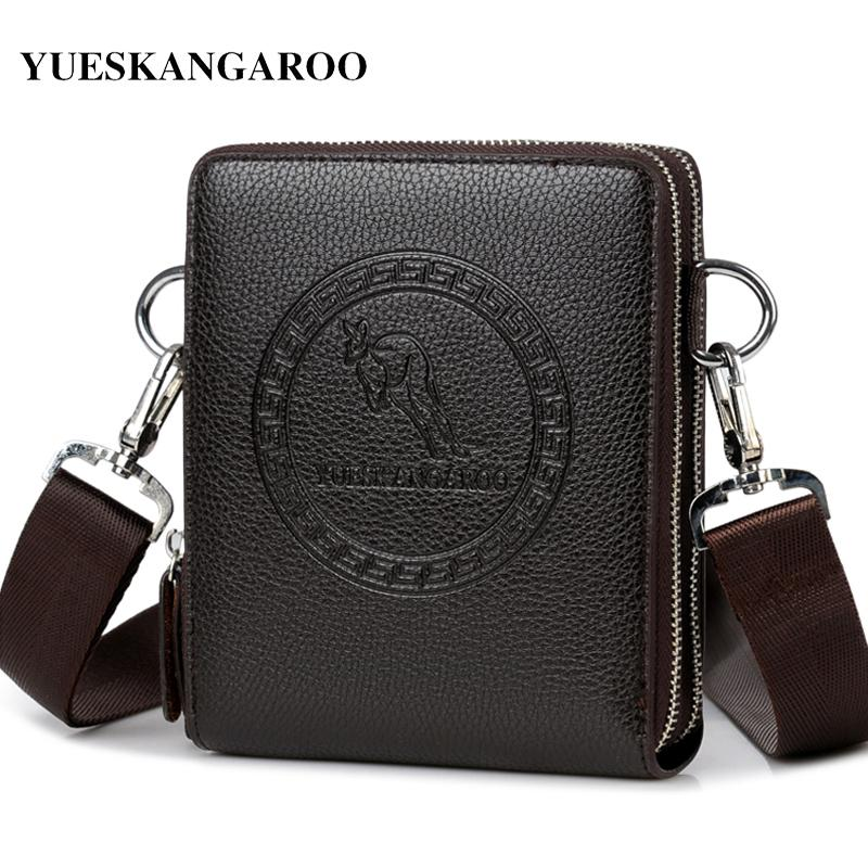 YUES KANGAROO Brand Men Bag Leather Casual High Quality Shoulder Crossbody Bags Classical Business Briefcase Mens Messenger Bag S914