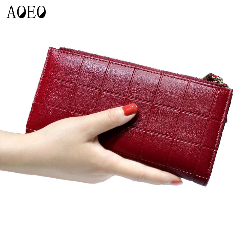 ... detailed images fde36 c8fff Women Leather Purse Plaid Wallets Long  Ladies Colorful Walet Red Clutch 10 ... 5f04e45436a6