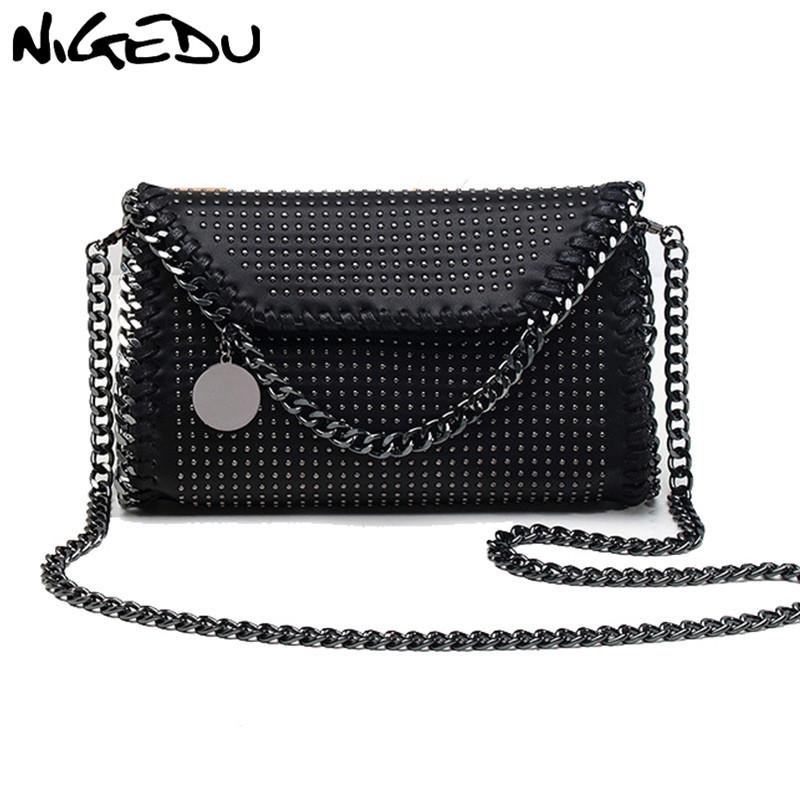 4d71c9e633 NIGEDU Mode rivet femmes sac de messager marque design chaîne ...
