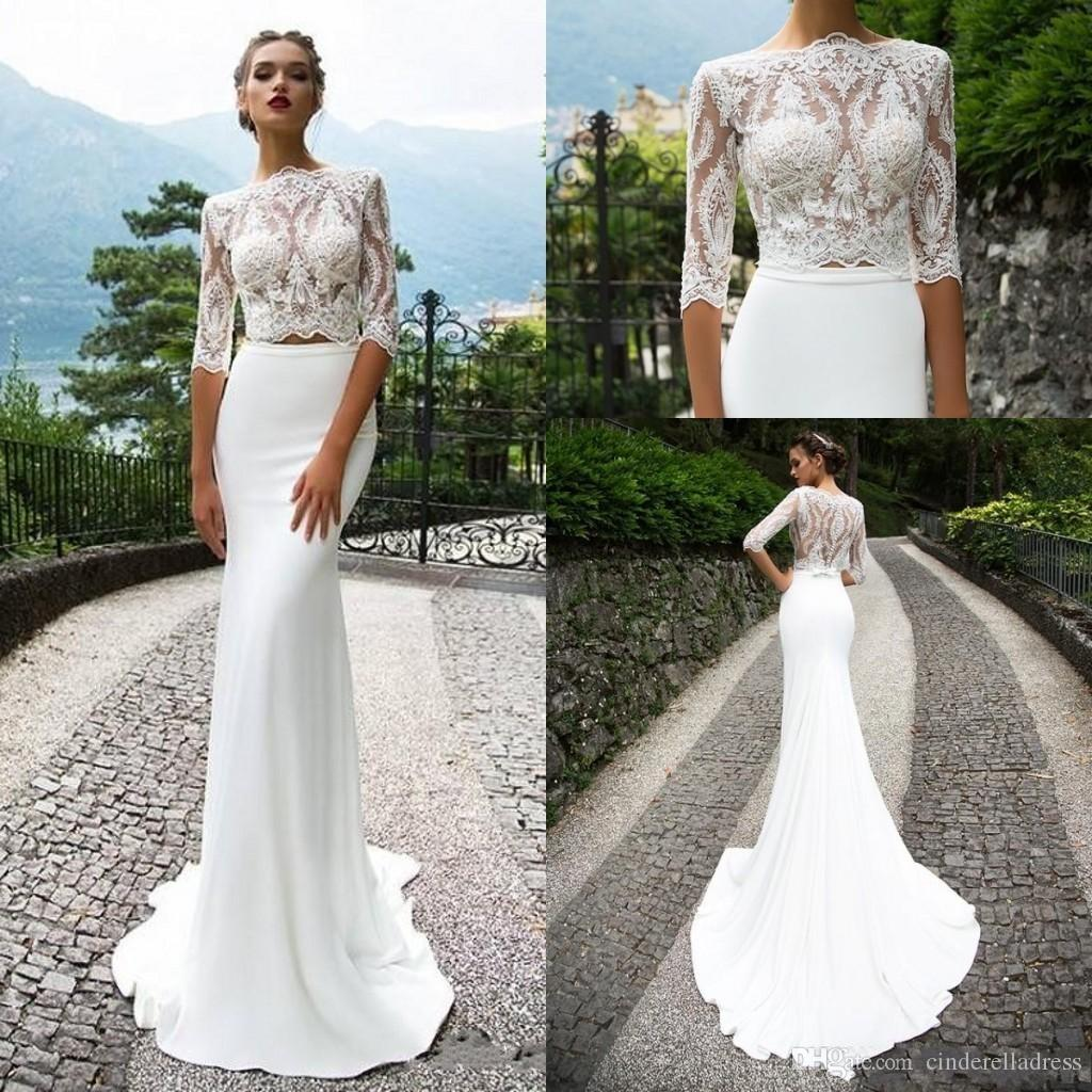 Two Pieces 2018 Bohemian Lace Wedding Dresses Plus Size Long Sleeves ...