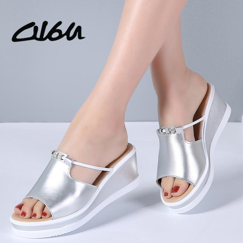 aa77c0706b079 O16U Summer Women Slippers Leather Peep Toe Thick Soled Outside Flip Flops  Shoes Women Wedges Flat Slides Shoes Ladies Sandals Canada 2019 From Bking