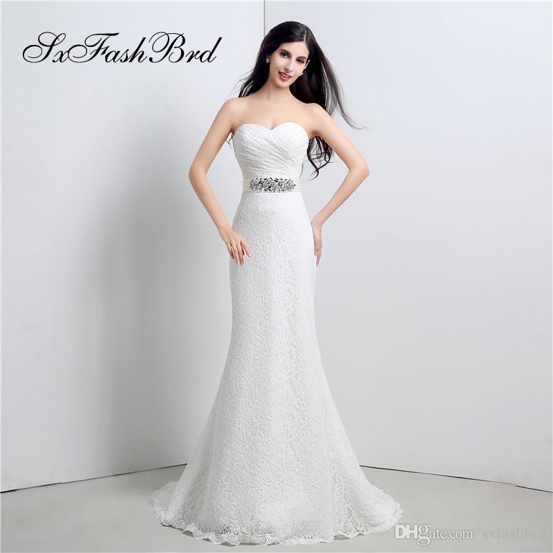 compre elegante vestido de novia de la sirena del cordón de la boda