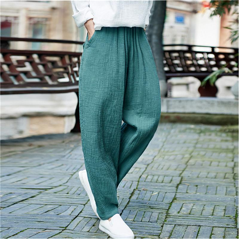 f6c7c0dcd47 2019 Johnature Women Pockets Harem Pants Elastic Waist 2018 Spring New  Casual Vintage Trouser Loose Quality Women Cotton Linen PantsY1882501 From  Zhengrui06 ...