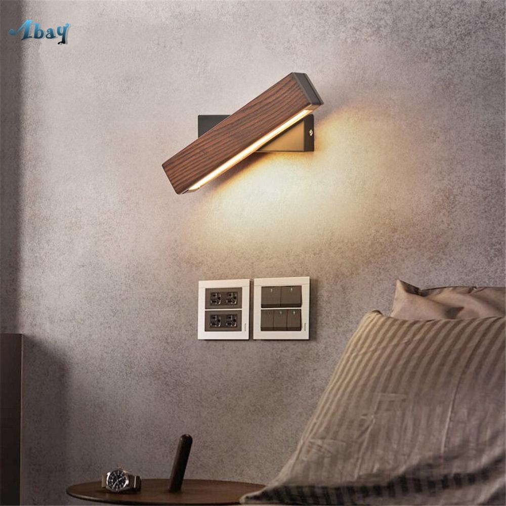 Bois Design Décor De Led Chambre En Lumière Lampe Rotative Murale Massif Créative Moderne Allée Chevet CoWQrxedB